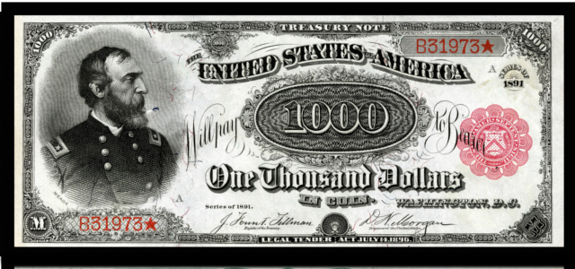 przód banknotu z 1891 roku us red seal