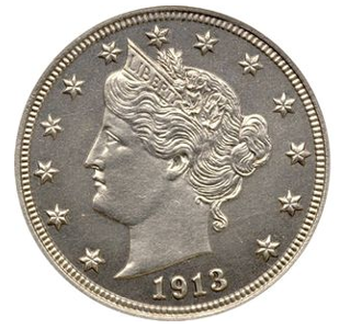 droga moneta przód 1913 Eliasberg Liberty Head Nickel